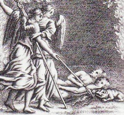 Satan whispers to Eve